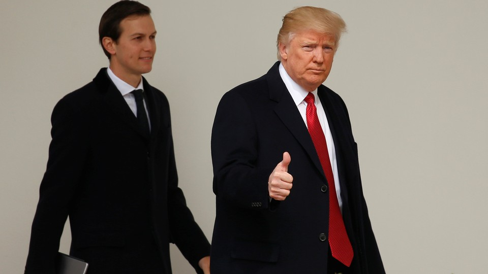 President Trump and White House Senior Advisor Jared Kushner depart the White House in Washington.