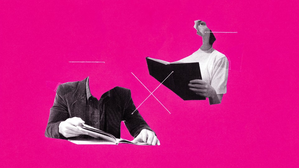 A girl reading a book, and a faceless man reading book