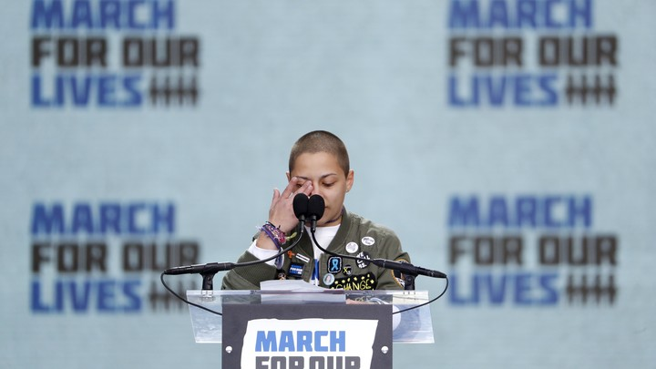"""Emma González, a student and shooting survivor from the Marjory Stoneman Douglas High School in Parkland, Florida, addressing the conclusion of the """"March for Our Lives"""" event in Washington, D.C."""