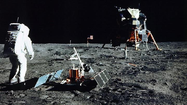 A photograph of the astronaut Buzz Aldrin on the moon