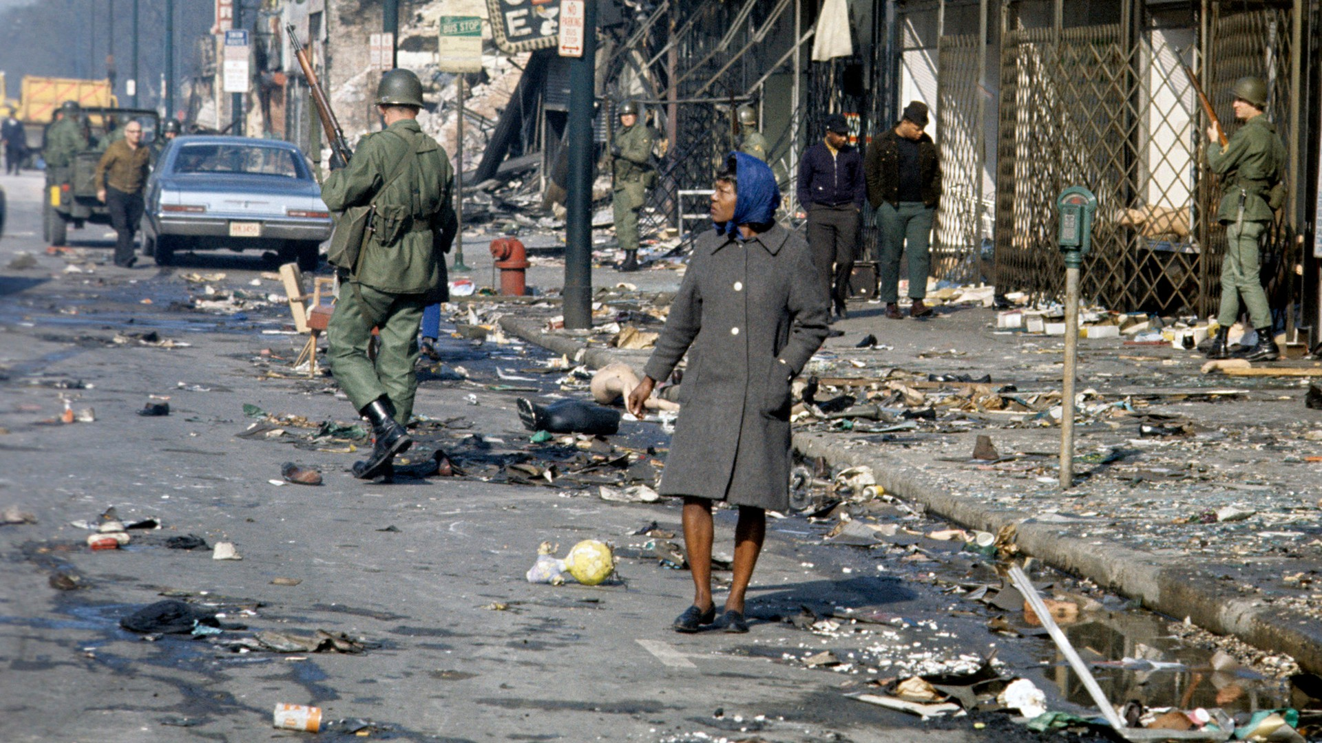 Soldiers patrol riot-torn Chicago.