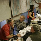 Vashon Island residents work in their Emergency Operations Center to discuss how to respond should a major earthquake take place.