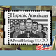 "A 20-cent postage stamp featuring an illustration of seven Hispanic Americans standing in front of an American flag. According to the National Postal Museum, ""The Hispanic Americans stamp design features a U.S. marine in full dress uniform with the Medal of Honor draped around his neck. He is flanked on both sides by two men and a woman in military dress, one man in civilian attire, and a young boy and girl. The United States flag appears in the background, signifying the Hispanic contributions to national defense."