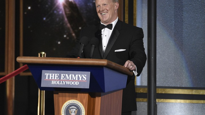 Sean Spicer onstage during the 2017 Emmys