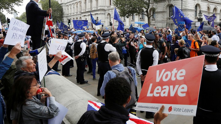Supporters and opponents of Brexit demonstrate on the streets of London.