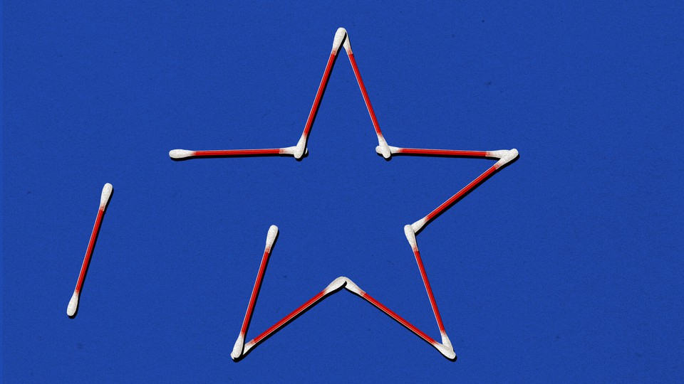 A star made of red-and-white swabs
