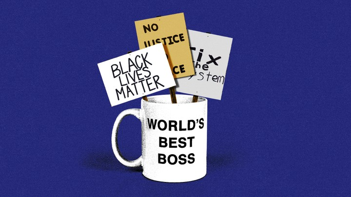 "An illustration of a mug reading ""World's Best Boss"" with ""Black Lives Matter,"" ""No Justice, No Peace,"" and ""Fix the System"" signs inside it"