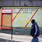 A boarded-up bank