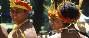 Young immigrants from Yap Island, Micronesia, perform a dance at a Portland, Oregon Parks & Recreation event.
