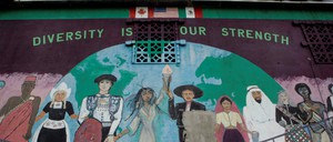 A mural at a restaurant in the Mexican Town district of Detroit
