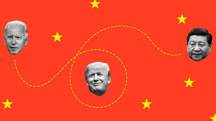 An illustration featuring the faces of Joe Biden, Donald Trump, and Xi Jinping
