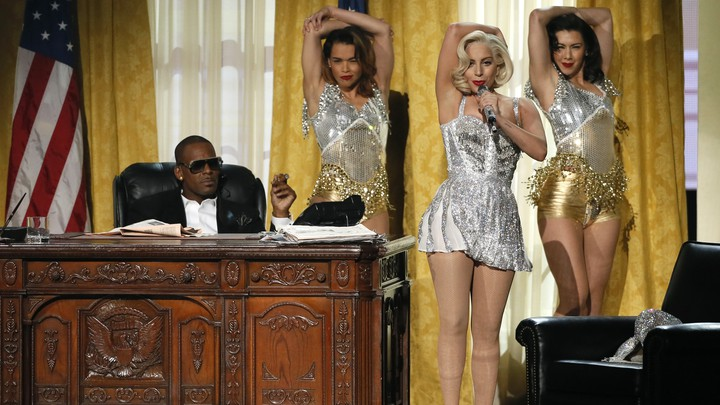R. Kelly and Lady Gaga at the American Music Awards