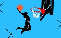An illustration of a basketball player slamming a coronavirus shape into a hoop.