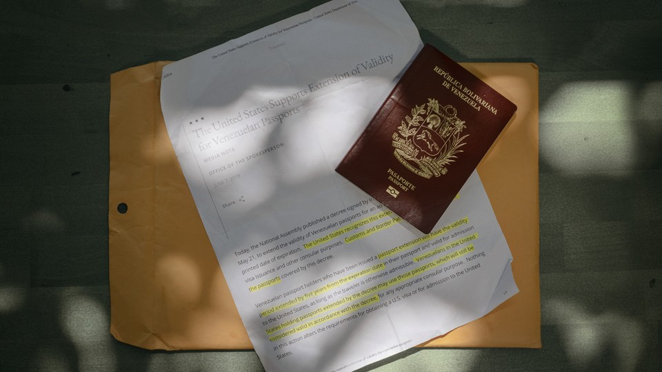 A photograph of immigration papers