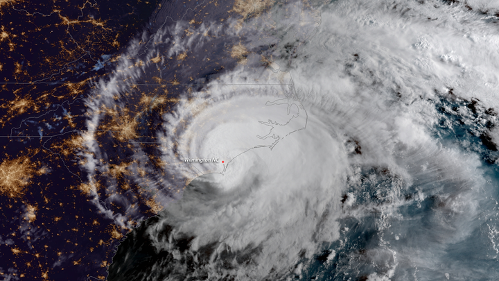 A color-amplified satellite image of Hurricane Florence, captured by NOAA satellites on September 14
