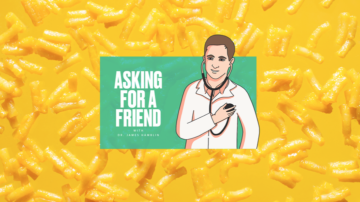"""The """"Asking for a Friend"""" logo against a background of macaroni and cheese"""