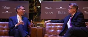 Los Angeles Mayor Eric Garcetti (left) talks to the Atlantic's Steve Clemons.