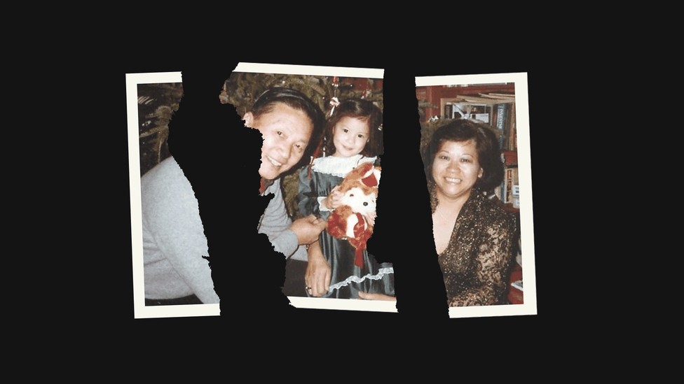A family photograph of Karissa Chen's family, torn apart so that the family members are separated.