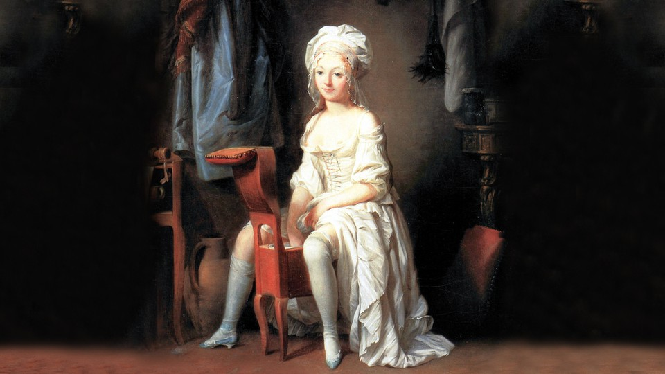 A French painting of a woman wearing a white corseted dress sitting on an antique bidet