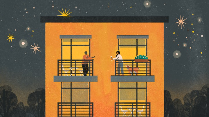 An illustration of the two friends chatting on their balconies at night