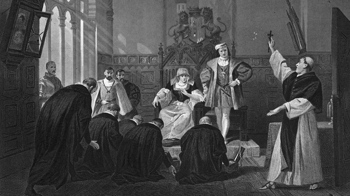 An illustration depicting a group of Jewish men kneeling before the Spanish Catholic monarchs.