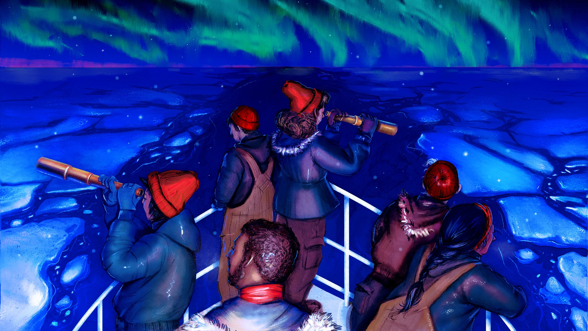 A group of people in heavy winter outerwear stand at the bow of a ship, looking through spyglasses at the icy ocean before them with the northern lights above.