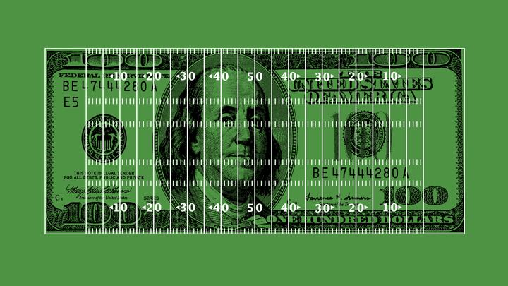 Hundred dollar bill with football field