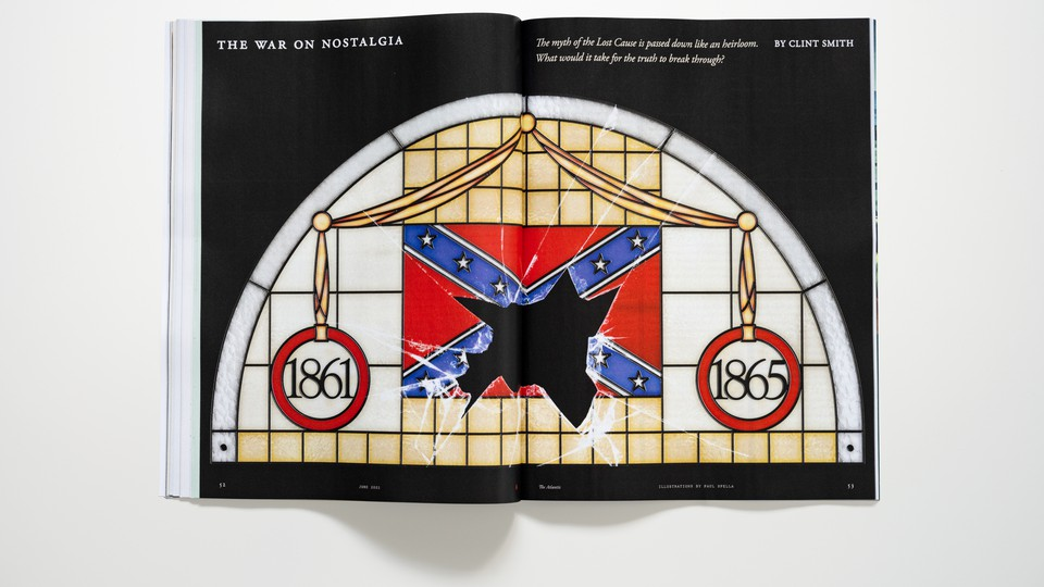 """Photo of magazine spread for story """"The War on Nostalgia"""" with shattered stained-glass confederate flag"""