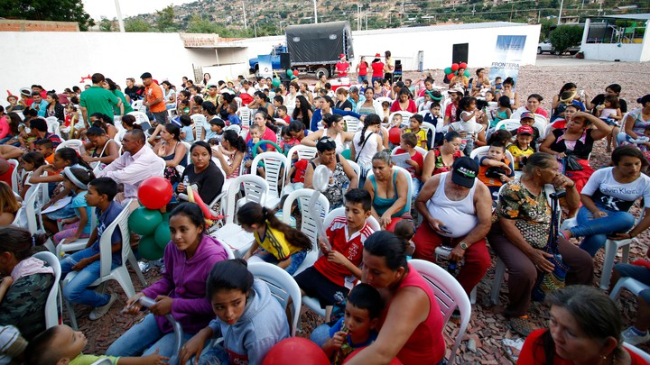 Venezuelan migrants gather in Cúcuta, Colombia, where the Colombian Foreign Ministry gave gifts to Venezuelan children on Christmas Eve 2018.