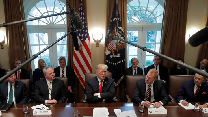 Donald Trump attends a Cabinet meeting on day 12 of the partial U.S. government shutdown on January 2.