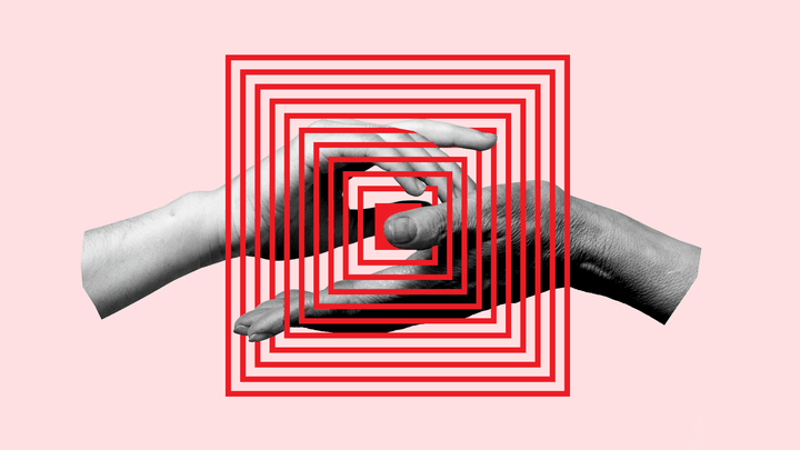 A graphic showing two hands overlaid by a maze