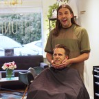 Jonathan Van Ness and Mayor Ted Terry in a salon
