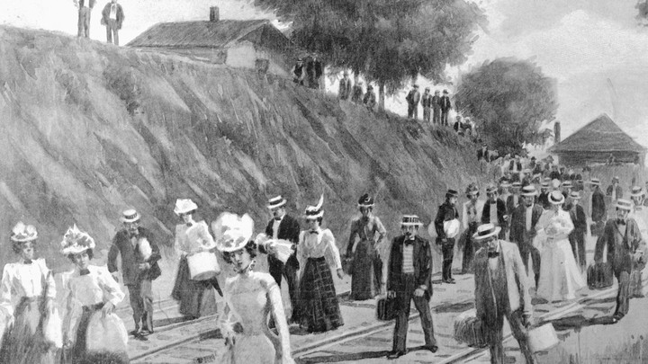 Drawing of people with luggage walking along a railroad