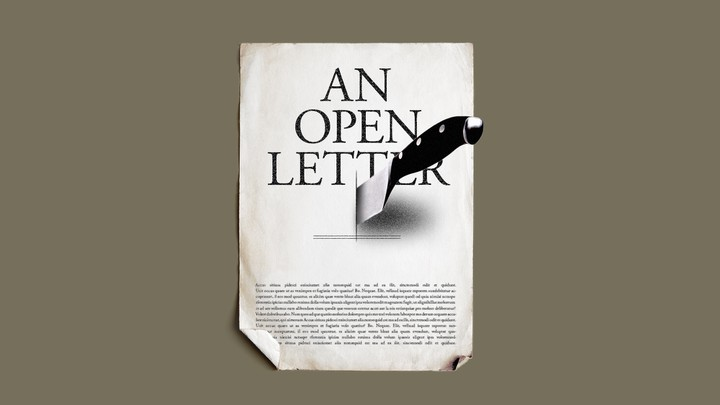 An illustration of an open letter with a knife through it.