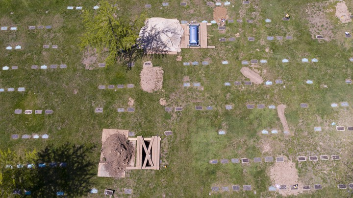 Graves in a cemetery