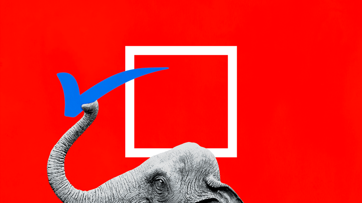 An illustration of an elephant stealing the checkmark from a ballot box.