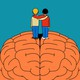 An illustration of two friends with hands around each other's shoulders, standing atop a giant brain.