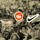 Brand logos superimposed on a photo of protesters