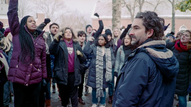 Students protesting a professor played by Jay Duplass