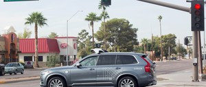 A self-driving Volvo SUV in Scottsdale, Arizona. The company has halted testing of its autonomous vehicle program in the wake of a fatal crash on Sunday.