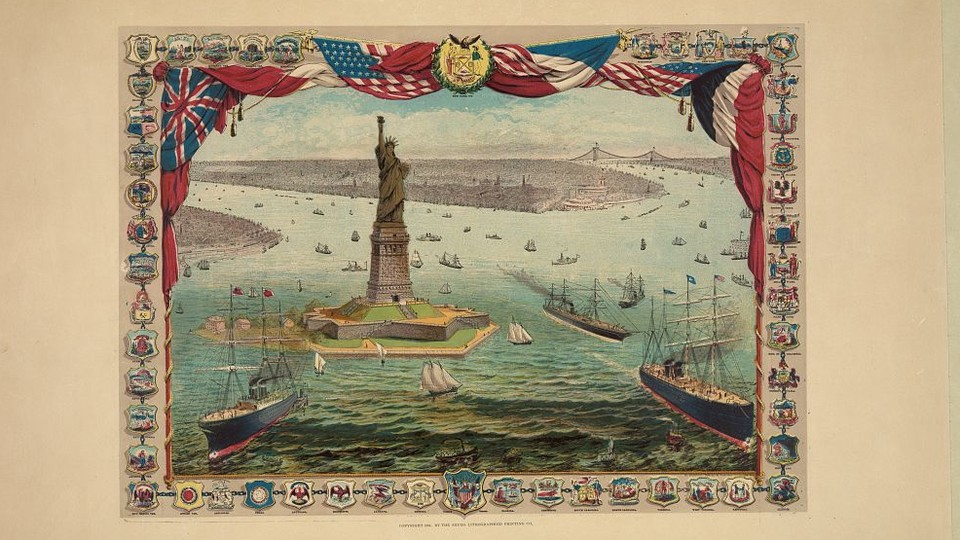 A lithograph created in 1884 depicts boats surrounding the Statue of Liberty in New York Harbor