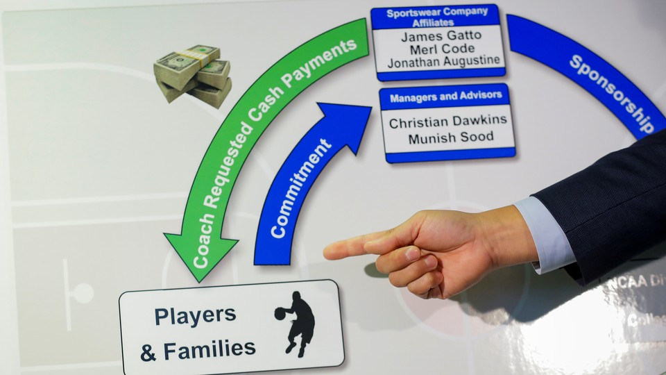 The acting U.S. attorney for the Southern District of New York gestures at a diagram describing a kickback scheme during a press conference.
