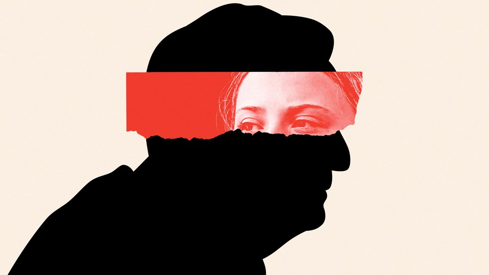 Silhouette of George Soros with a torn photo of Greta Thunberg's eyes placed over it.