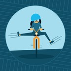 An illustration of a young woman riding a bike with her feet off the pedals