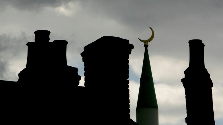 An Islamic crescent pictured at a mosque in London on August 11, 2006.