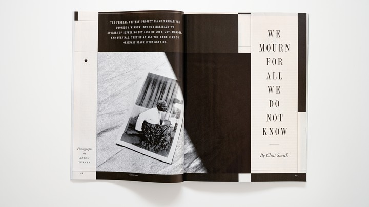 "photo of the print magazine open to ""We Mourn for All We Do Not Know"""