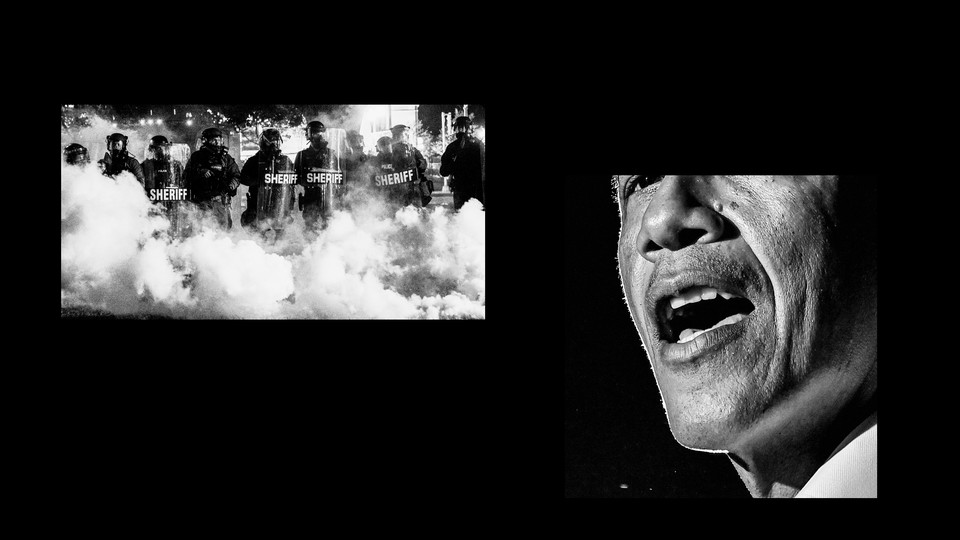 A photo of police and Barack Obama
