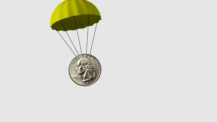 An illustration of a quarter with a parachute attached.