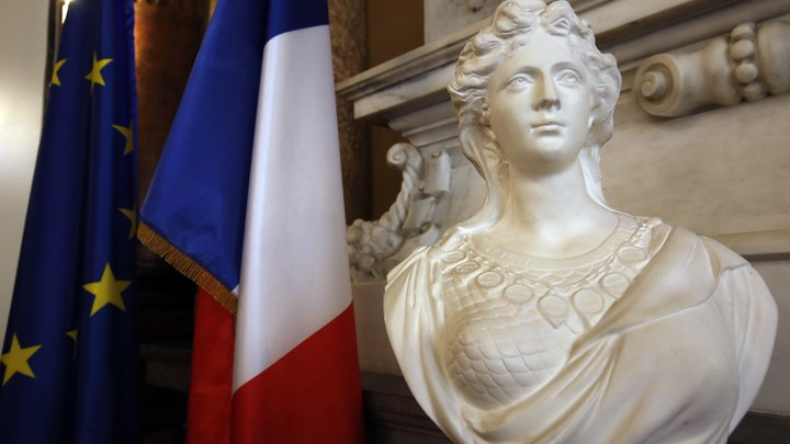 """A bust of the French revolutionary symbol """"Marianne"""" in Nice, France"""