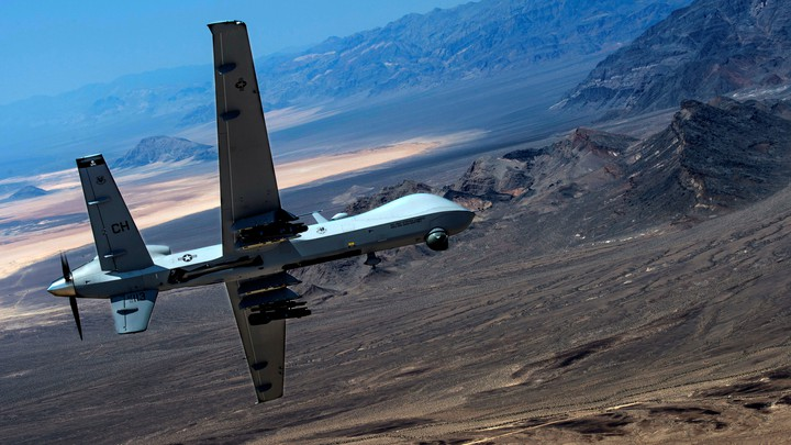 Drone performs aerial maneuvers over Creech Air Force Base, Nevada, U.S.